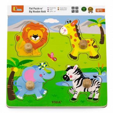 Деревянная рамка-вкладыш Viga Toys Зверята в Африке R