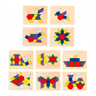 Геометрическая мозаика Viga Toys деревянная с шаблонами