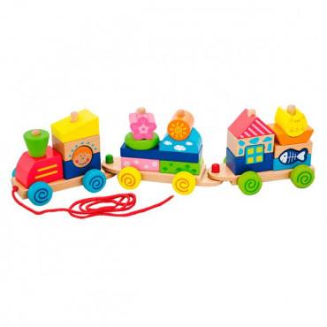 Деревянная каталка-поезд Viga Toys Красочные кубики
