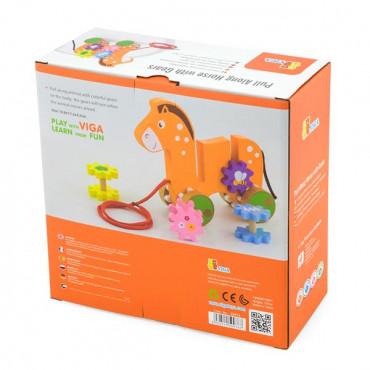 Деревянная каталка Viga Toys Лошадка с шестеренками