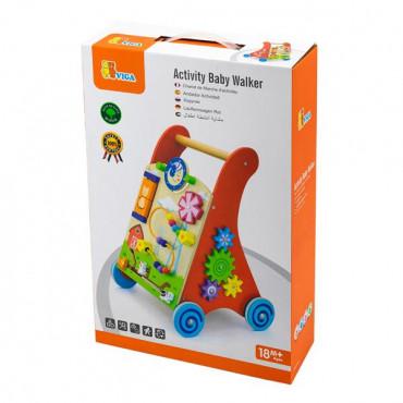 Детские ходунки-каталка Viga Toys с бизибордом