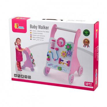 Детские ходунки-каталка Viga Toys с бизибордом (розовый)