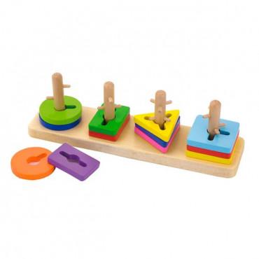 Деревянная логическая пирамидка-ключ Viga Toys Цветные фигуры