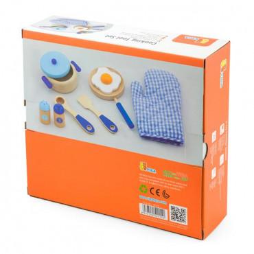 Детский кухонный набор Viga Toys Игрушечная посуда из дерева (голубой)