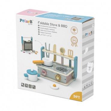 Детская плита Viga Toys PolarB с посудой и грилем, складная