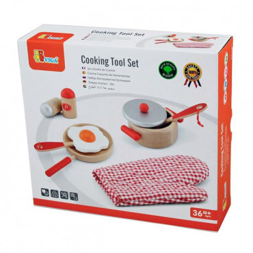 Детский кухонный набор Viga Toys Игрушечная посуда из дерева (красный)