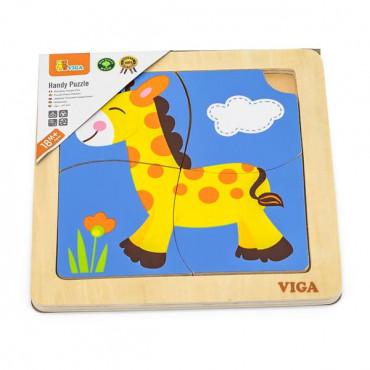 Деревянный мини-пазл Viga Toys Жираф, 4 эл.
