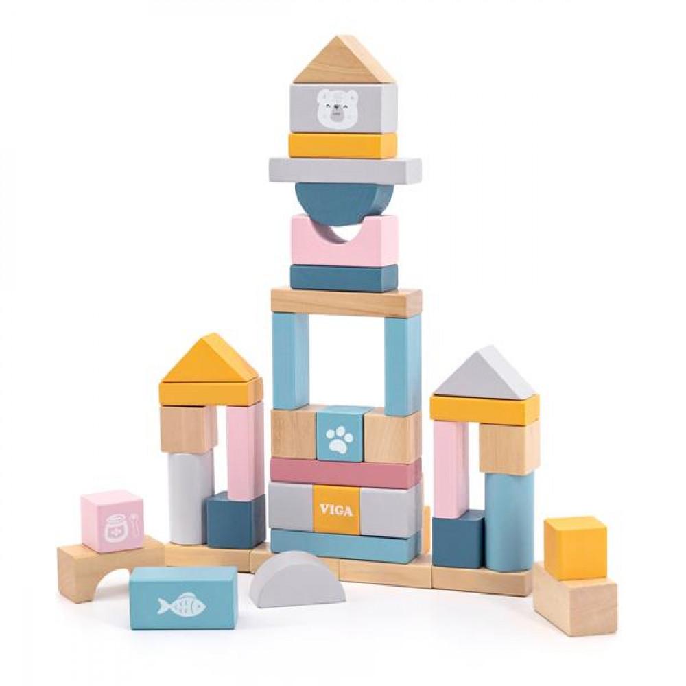 Дерев'яні кубики Viga Toys PolarB Пастельні блоки, 60 шт., 2,5 см