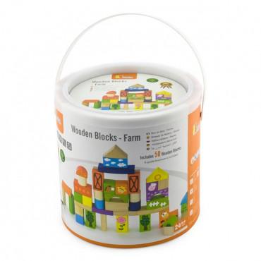 Деревянные кубики Viga Toys Ферма, 50 шт., 3 см