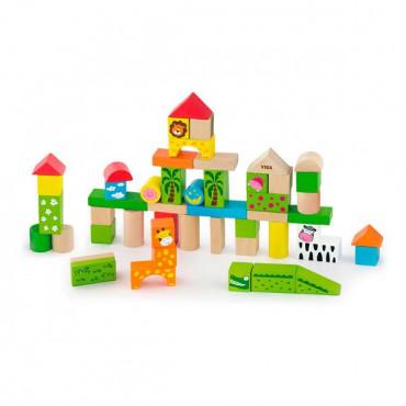 Деревянные кубики Viga Toys Зоопарк, 50 шт., 3 см