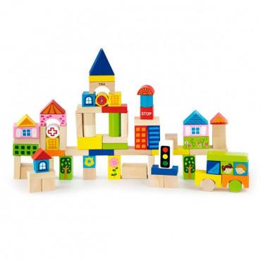 Деревянные кубики Viga Toys Город, 75 шт., 3 см