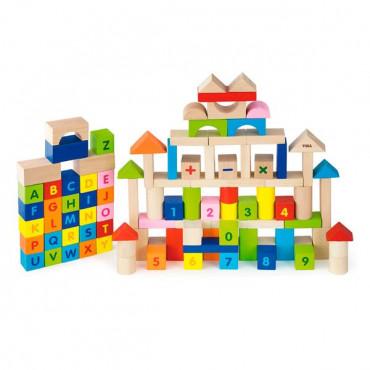 Деревянные кубики Viga Toys Алфавит и числа 100 шт., 3 см