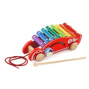 Деревянный ксилофон-каталка Viga Toys Спорткар