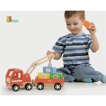 Деревянная игрушечная машинка Viga Toys Автокран