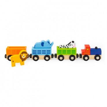 Набор для железной дороги Viga Toys Поезд-зоопарк