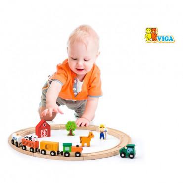 Деревянная железная дорога Viga Toys 19 эл.