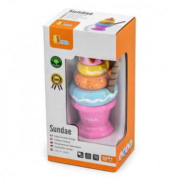 Игрушечные продукты Viga Toys Деревянная пирамидка-мороженое, розовый
