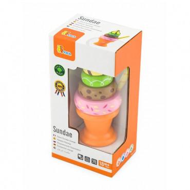 Игрушечные продукты Viga Toys Деревянная пирамидка-мороженое, оранжевый